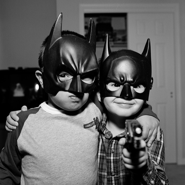 Stick 'em up!Michael and Sam are taking prisoners. (They're my cousin's kids.)#myfamily #lafamiglia #blackandwhite #mamiyarz #b&w #takingprisoners #batman #stickemup #joefornabaio #joefornabaiotookthispicture