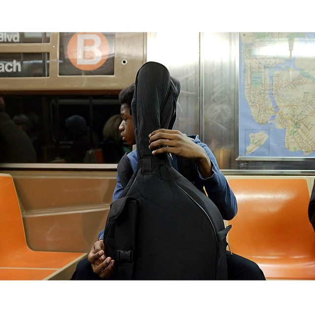 Bass on the B. Morning commute.#bass #btrain #morningcommute #nyc #joefornabaio