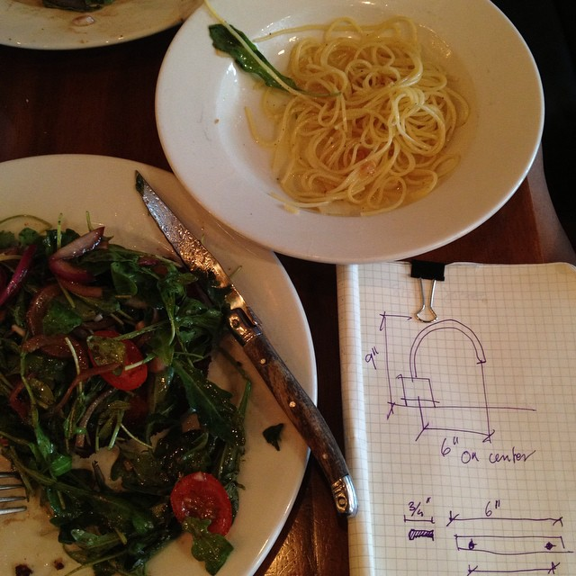 Faucet decisions over chicken milanese. And a side of spaghetti, garlic and oil.#faucet #decisions #chickenmilanese #nyc #spaghetti #sketches #littleitaly #joefornabaio