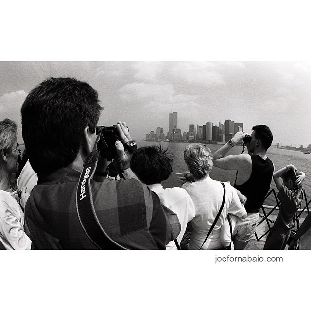 1997, twin towers, remembering.#twintowers #nyc #film #nikonfm2 #joefornabaio #gonebutnotforgotten #16mm #tourists #statenislandferry #b&w
