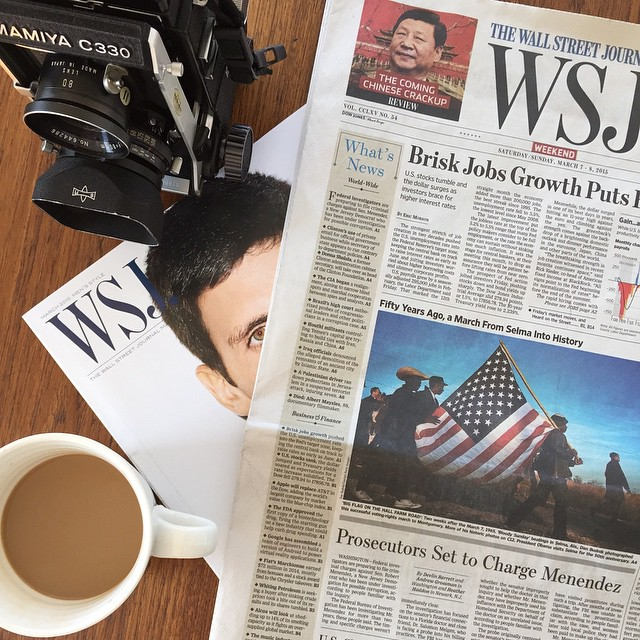 Coffee. Selma. Djokovic. WSJ. Sunny morning. Art fair overload Saturday.#nyc #joefornabaio #lowereastside #coffee #wsj #selma