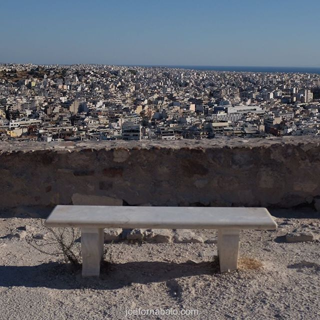 Acropolis now, part deux.Bench with a view.#acropolis #joefornabaio #vacation #athens #greece
