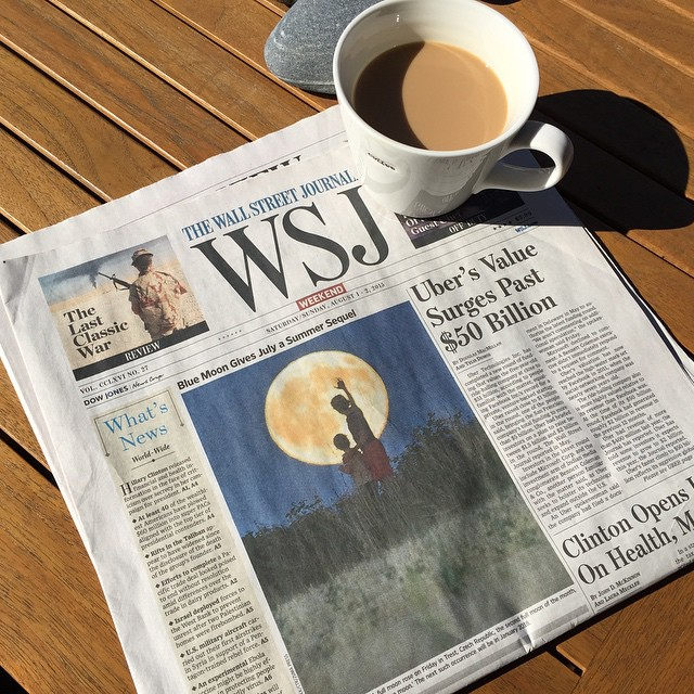In case you missed the blue moon this week. #wsj #joefornabaio #coffee #risenshine #nyc #lowereastside #thewallstreetjournal #frontpage #wsjoffduty #balconylife