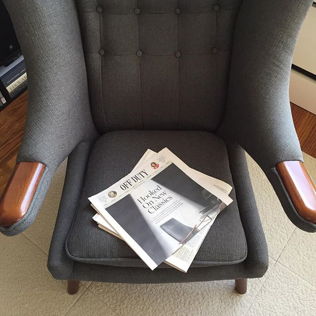 Good read this morning on alternative classics. But I gotta say, nothing better than reading in our Hans Wagner Papa Bear chair. #wsjoffduty #joefornabaio #wsj #papabearchair #hanswagner #nyc #lowereastside #les