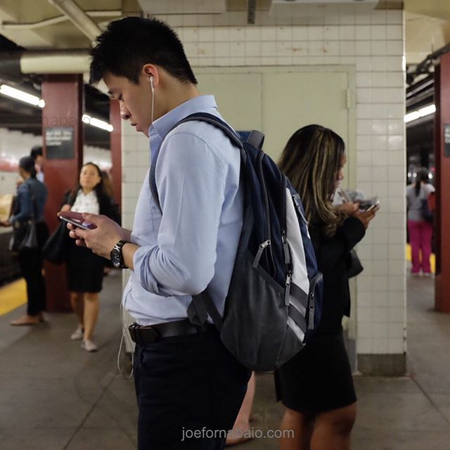 Evening commute.#nyc #subway #joefornabaio #eveningcommute #pluggedin