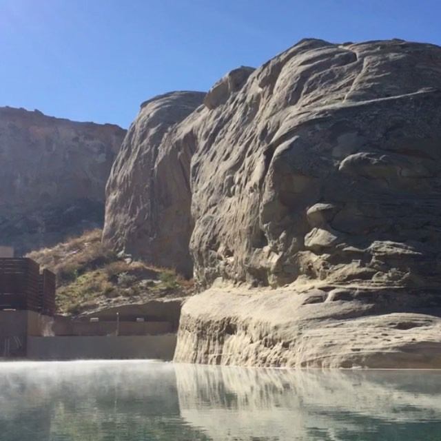 After breakfast dip.#pool #rocks #joefornabaio #vacation #amangiri #utah