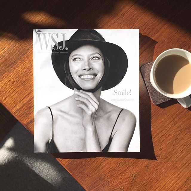 Such a great smile to warm up this cold weekend. Perfect timing. Great cover.#wsj #wsjmagazine #smile #goodmorning  #everymomcounts #coffee #nyc #danishmodern  #printisnotdead