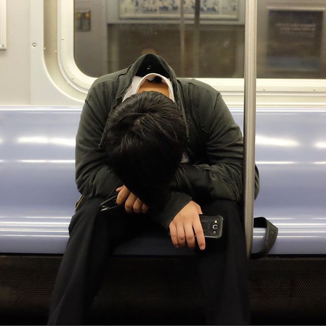 Friday evening commute...I feel your pain buddy.#friday #nyc #eveningcommute #joefornabaio #subway